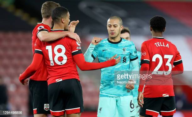 Thiago Alcantara of Liverpool interacts with Yan Valery of Southampton after the Premier League match between Southampton and Liverpool at St Mary's...