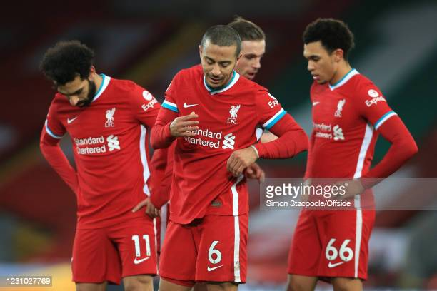 Thiago Alcantara of Liverpool looks dejected during the Premier League match between Liverpool and Manchester City at Anfield on February 7, 2021 in...
