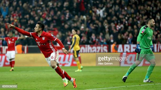 Thiago Alcantara of Muenchen celebrates after he scores the 3rd goal during the UEFA Champions League Round of 16 first leg match between FC Bayern...