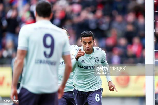 Thiago Alcantara of Muenchen celebrates his team's second goal during the Bundesliga match between 1 FSV Mainz 05 and FC Bayern Muenchen at Opel...