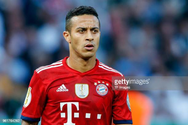 Thiago Alcantara of Muenchen looks on during the DFB Cup final between Bayern Muenchen and Eintracht Frankfurt at Olympiastadion on May 19 2018 in...