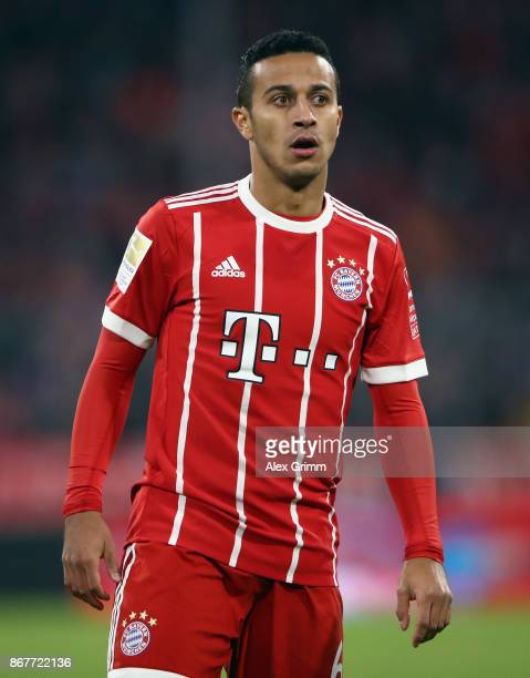 Thiago Alcantara of Muenchen reacts during the Bundesliga match between FC Bayern Muenchen and RB Leipzig at Allianz Arena on October 28 2017 in...