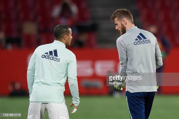 Thiago Alcantara of Spain and David de Gea of Spain during the warm-up before the FIFA World Cup 2022 Qatar qualifying match between Spain and Greece...