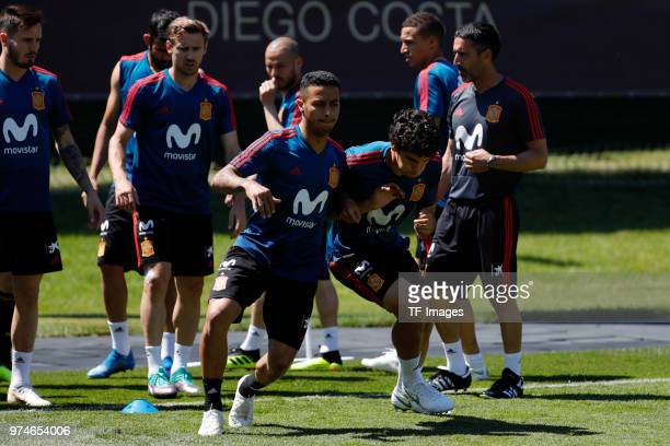 Thiago Alcantara of Spain and Jesus Vallejo of Spain warm up during a training session on June 12 2018 in Krasnodar Russia
