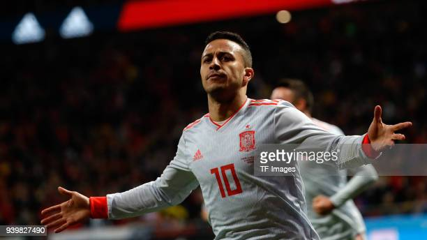 Thiago Alcantara of Spain celebrates after scoring his team`s fourth goal during the international friendly between Spain and Argentina at Wanda...