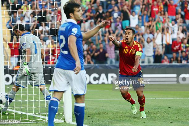 Thiago Alcantara of Spain celebrates his team's first goal during the UEFA European U21 Championship final match between Italy and Spain at Teddy...