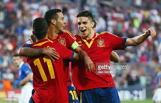Thiago Alcantara of Spain celebrates his team's third goal with team mates Cristian Tello and Alvaro Morata during the UEFA European U21 Championship...