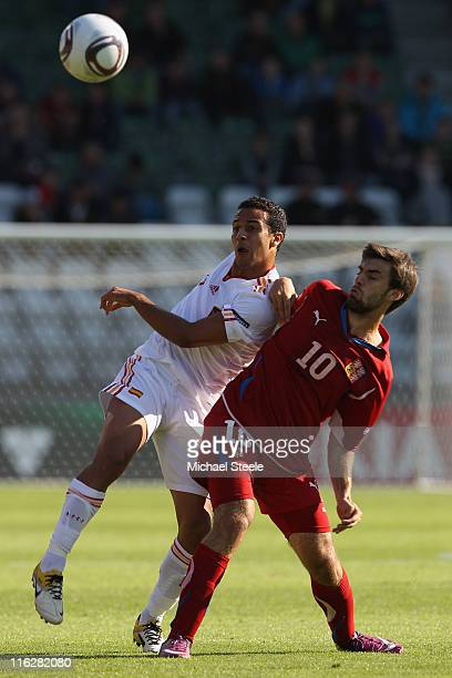 Thiago Alcantara of Spain challenged by Jan Moravek during the UEFA European Under21 Championship Group B match between Czech Republic and Spain at...