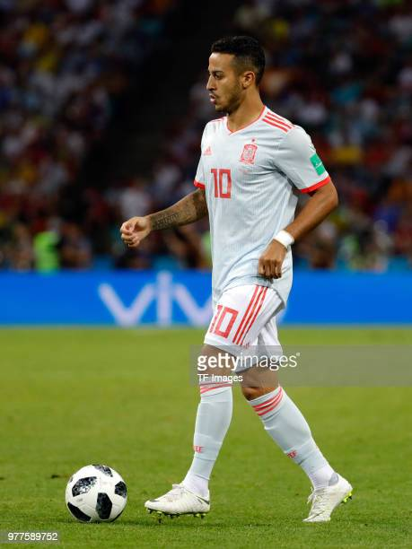 Thiago Alcantara of Spain controls the ball during the 2018 FIFA World Cup Russia group B match between Portugal and Spain at Fisht Stadium on June...