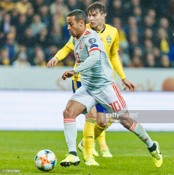 Thiago Alcantara of Spain controls the ball during the UEFA Euro 2020 qualifier between Sweden and Spain on October 15, 2019 in Solna, Sweden.