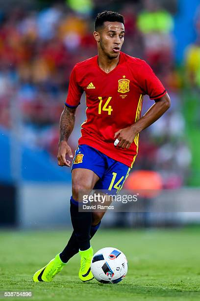 Thiago Alcantara of Spain in action during an international friendly match between Spain and Georgia at Alfonso Perez stadium on June 7 2016 in...