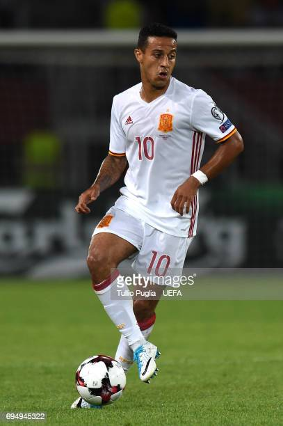 Thiago Alcantara of Spain in action during the FIFA 2018 World Cup Qualifier between FYR Macedonia and Spain at Nacional Arena Filip II Makedonski on...