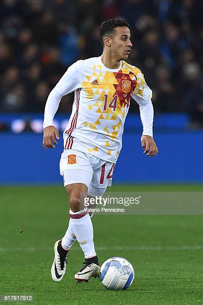 Thiago Alcantara of Spain in action during the international friendly match between Italy and Spain at Stadio Friuli on March 24 2016 in Udine Italy