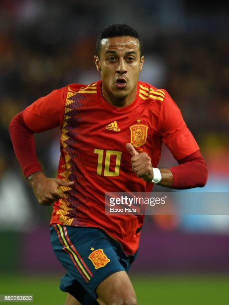 Thiago Alcantara of Spain in action during the international friendly match between Spain and Costa Rica at La Rosaleda Stadium on November 11 2017...