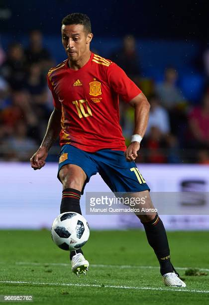 Thiago Alcantara of Spain in action during the International Friendly match between Spain and Switzerland at Estadio de La Ceramica on June 3 2018 in...