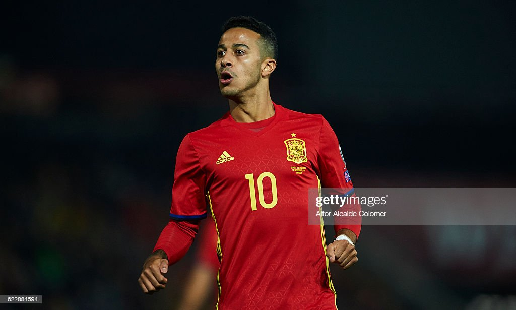 Thiago Alcantara of Spain looks on during the FIFA 2018 World Cup Qualifier between Spain and FYR Macedonia at on November 12, 2016 in Granada, .