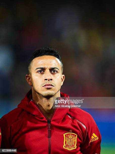 Thiago Alcantara of Spain looks on during the FIFA 2018 World Cup Qualifier between Spain and FYR Macedonia at Estadio Nuevos los Carmenes on...