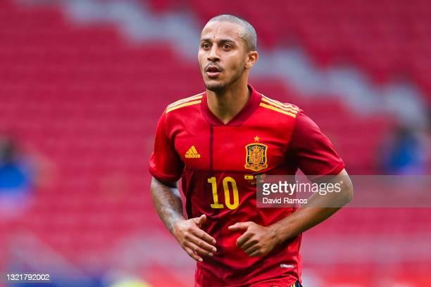 Thiago Alcantara of Spain looks on during the international friendly match between Spain and Portugal at Wanda Metropolitano stadium on June 04, 2021...