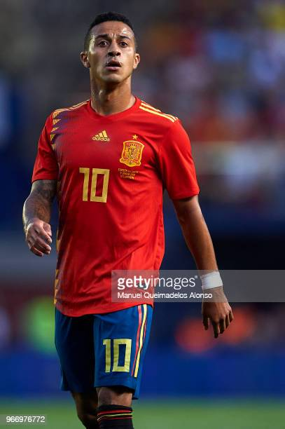 Thiago Alcantara of Spain looks on during the International Friendly match between Spain and Switzerland at Estadio de La Ceramica on June 3 2018 in...