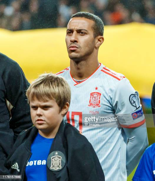 Thiago Alcantara of Spain looks on during the UEFA Euro 2020 qualifier between Sweden and Spain on October 15, 2019 in Solna, Sweden.