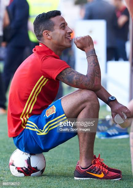 Thiago Alcantara of Spain looks on prior the international friendly match between Spain and Colombia at Nueva Condomina stadium on June 7 2017 in...