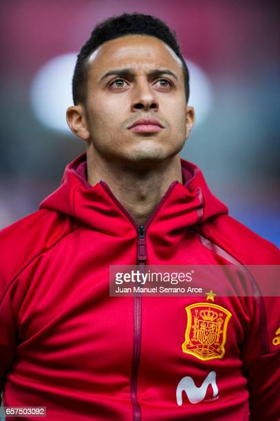 Thiago Alcantara of Spain looks on prior to the FIFA 2018 World Cup Qualifier between Spain and Israel at Estadio El Molinon on March 24 2017 in...