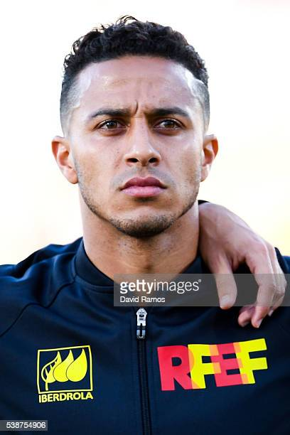 Thiago Alcantara of Spain on before the kickoff during an international friendly match between Spain and Georgia at Alfonso Perez stadium on June 7...