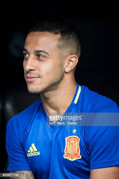 September 02: Thiago Alcantara of Spain on the bench before the FIFA World Cup qualifying match between Spain and Italy at the Santiago Bernabéu...