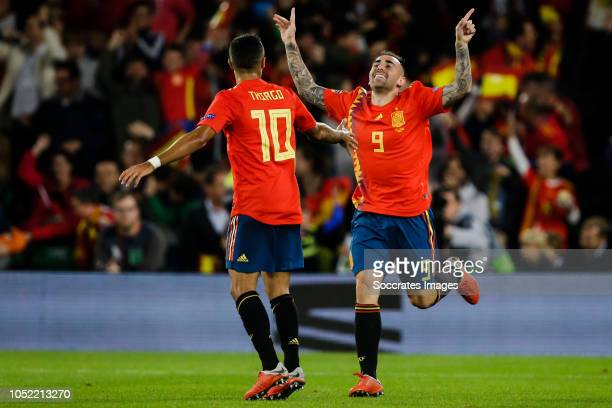 Thiago Alcantara of Spain Paco Alcacer of Spain celebrate the 31 during the UEFA Nations league match between Spain v England at the Estadio Benito...
