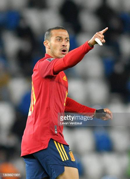 Thiago Alcantara of Spain reacts during the FIFA World Cup 2022 Qatar qualifying match between Georgia and Spain at the Boris Paichadze Dinamo Arena...