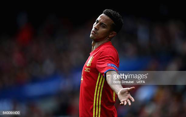 Thiago Alcantara of Spain reacts during the UEFA EURO 2016 Group D match between Spain and Czech Republic at Stadium Municipal on June 13 2016 in...