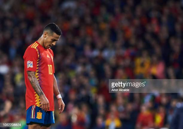 Thiago Alcantara of Spain reacts during the UEFA Nations League A Group Four match between Spain and England at Estadio Benito Villamarin on October...