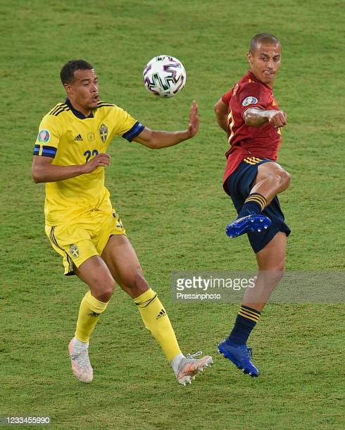 Thiago Alcantara of Spain Robin Quaison of Sweden during the match between Spain and Sweden of Euro 2020, group E, matchday 1, played at La Cartuja...