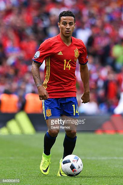 Thiago Alcantara of Spain runs with the ball during the UEFA EURO 2016 Group D match between Spain and Czech Republic at Stadium Municipal on June 13...