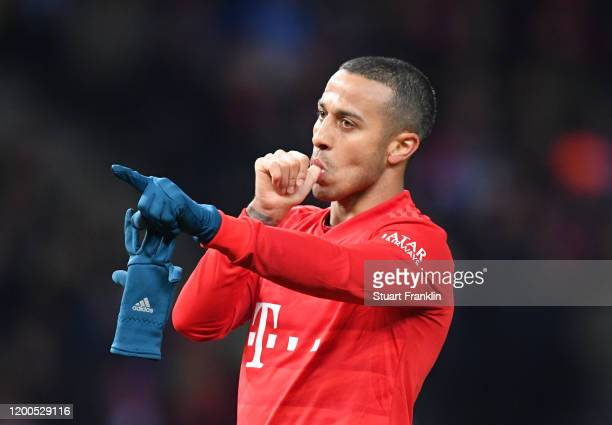 Thiago Alcántara of FC Bayern Muenchen celebrates after scoring his sides third goal during the Bundesliga match between Hertha BSC and FC Bayern...
