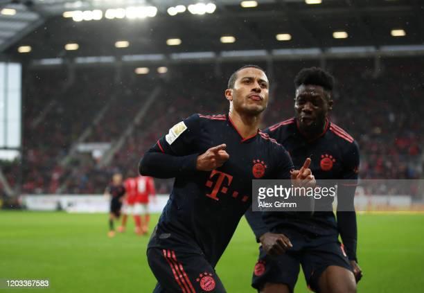Thiago Alcántara of FC Bayern Muenchen celebrates after scoring his sides third goal during the Bundesliga match between 1. FSV Mainz 05 and FC...
