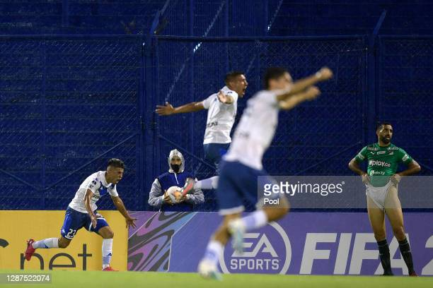 Thiago Almada of Velez celebrates after scoring the first goal of his team during a round of sixteen first leg match between Velez and Deportivo Cali...