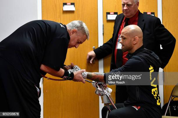 Thiago Alves of Brazil gets his hands wrapped backstage during the UFC Fight Night event at Frank Erwin Center on February 18 2018 in Austin Texas