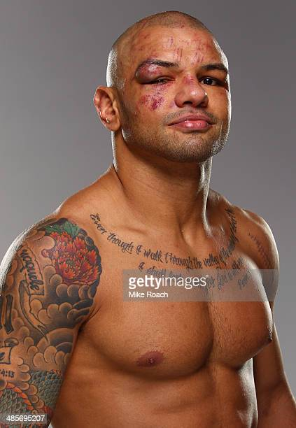 Thiago Alves poses for a postfight portrait backstage after his victory over Seth Baczynski during the FOX UFC Saturday event at the Amway Center on...