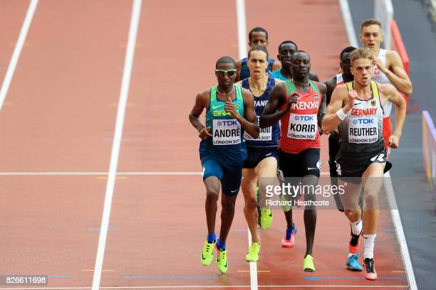 Thiago Andre of Brazil, Emmanuel Kipkurui Korir of Kenya and Marc Reuther of Germany compete during the mens 800m heats during day two of the 16th...
