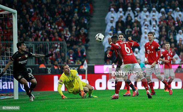 Thiago Bayern Munich scores the first goal during the Bundesliga match between Bayern Muenchen and Bayer 04 Leverkusen at Allianz Arena on November...