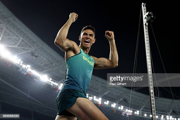 Thiago Braz da Silva of Brazil celebrates on his way to winning the Men's Pole Vault final on Day 10 of the Rio 2016 Olympic Games at the Olympic...