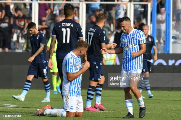 Thiago Cionek and Francesco Vicari celebrate the gamewinner after the Serie A match between SPAL and SS Lazio at Stadio Paolo Mazza on September 15...