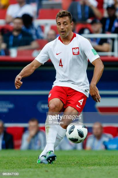 Thiago Cionek of Poland controls the ball during the 2018 FIFA World Cup Russia group H match between Poland and Senegal at Spartak Stadium on June...