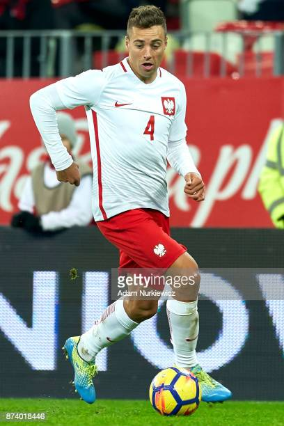 Thiago Cionek of Poland controls the ball during the International Friendly match between Poland and Mexico at Energa Arena Stadium on November 13...