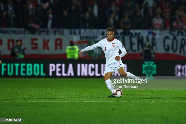 Thiago Cionek of Poland during the UEFA Nations League A group three match between Portugal and Poland at on November 20 2018 in Guimaraes Portugal