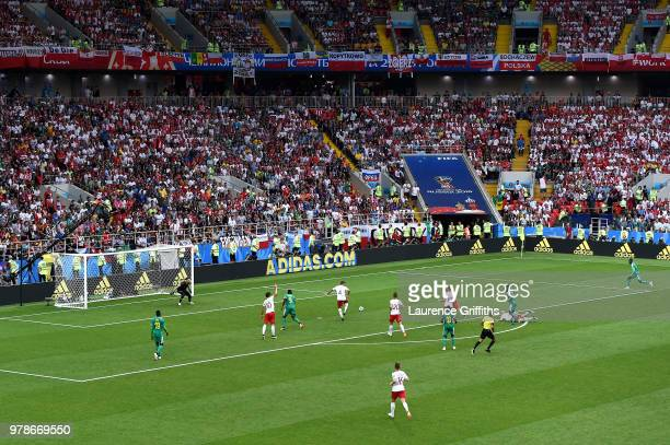 Thiago Cionek of Poland scores an own goal for Senegal's first goal past Wojciech Szczesny of Poland during the 2018 FIFA World Cup Russia group H...