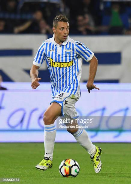 Thiago Cionek of Spal during the serie A match between Spal and AC Chievo Verona at Stadio Paolo Mazza on April 18 2018 in Ferrara Italy
