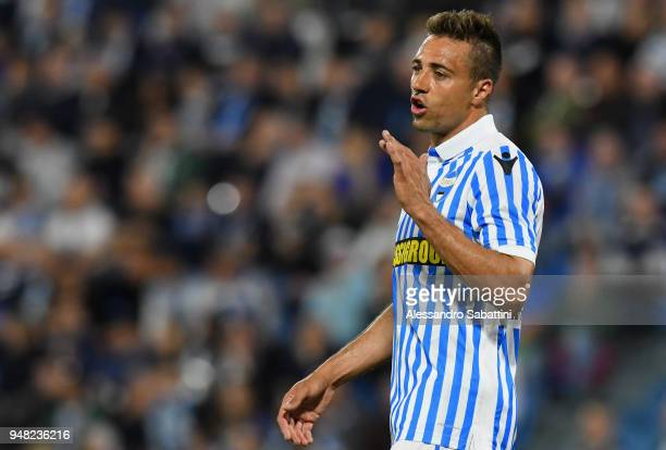 Thiago Cionek of Spal gestures during the serie A match between Spal and AC Chievo Verona at Stadio Paolo Mazza on April 18 2018 in Ferrara Italy