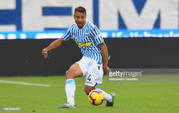 Thiago Cionek of Spal in action during the Serie A match between SPAL and Frosinone Calcio at Stadio Paolo Mazza on October 28 2018 in Ferrara Italy
